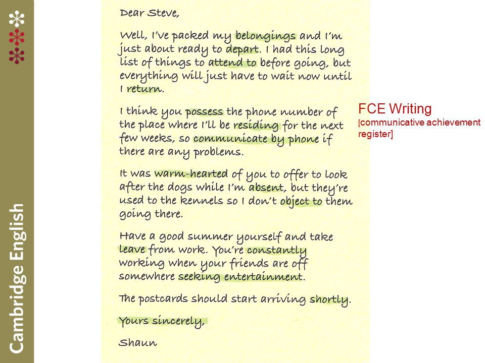 FCE Writing [communicative achievement register]